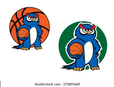 Blue owl player cartoon character standing with basketball ball under a wing on dark green background, suited for sporting team emblem or mascot design