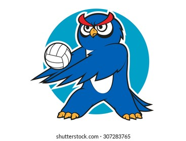 Blue owl volleyball player with a white ball, for sporting club or team mascot design