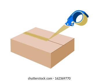 A Blue Packing Tape Dispenser or Adhesive Tape Dispenser Closing A Brown Cardboard Box Isolated on White Background.