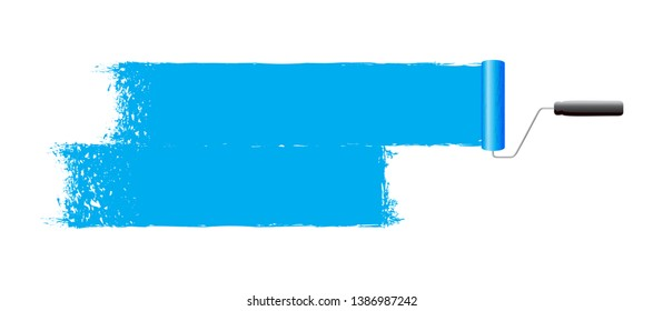 blue paint roller abstract background
