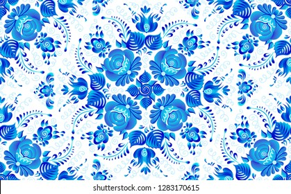 Blue painted flowers in Russian gzhel style vector seamless pattern tile