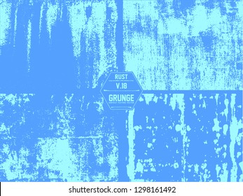 Blue painted metal texture, with extensive chipping, discolorati