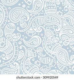 blue paisley seamless pattern