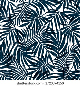 Blue palm leaf silhouettes on white background. Seamless vector tropical pattern. Wallpaper, textile, print design