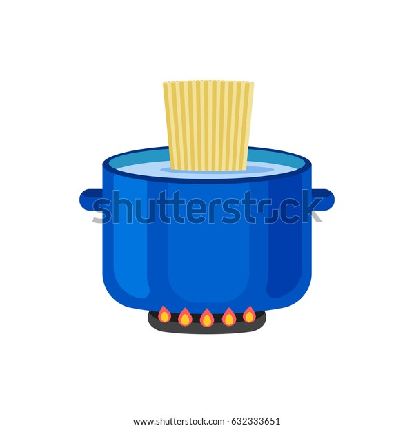 Blue pan with pasta.Vector illustration isolated on white background