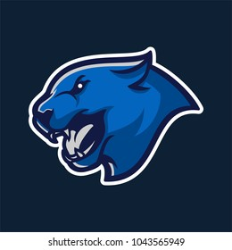 blue panther/big cat with angry face modern mascot logo template for sport/e-sport team