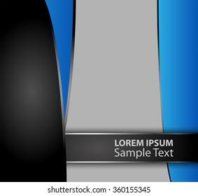 Blue paper background overlap dimension vector illustration message board for text and message design modern website