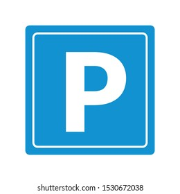 blue parking icon in the white background