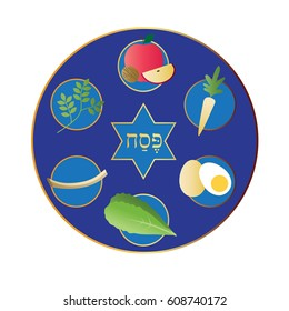 blue passover plate with food