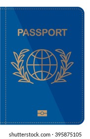 Blue Passport cover isolated on white. vector illustration. Passport icon isolated on white. Passport cover flat design.