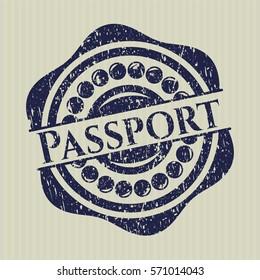 Blue Passport distress rubber grunge stamp