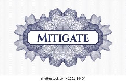Blue passport money rosette with text Mitigate inside