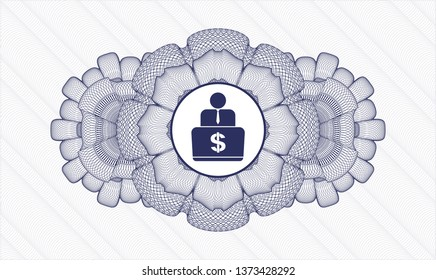 Blue passport money style rosette with man working on computer icon inside