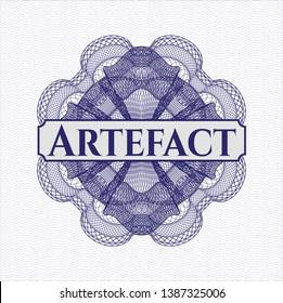 Blue passport money style rosette with text Artefact inside
