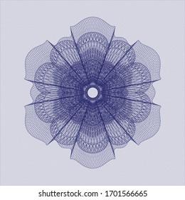 Blue passport money style rosette. Vector Illustration. Detailed.