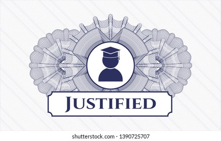 Blue passport rosette with graduation icon and Justified text inside