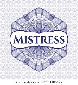 Blue passport rosette with text Mistress inside