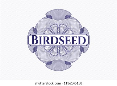 Blue passport rossete with text Birdseed inside