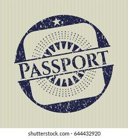 Blue Passport rubber grunge texture seal