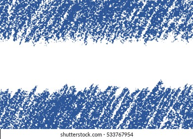 Blue pastel chalk wax crayon hand drawing copy space. Banner seamless abstract background. Hand drawing vector chalk stroke lines.