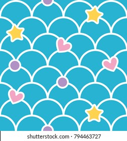 Blue pastel cute scale seamless pattern with hearts and stars