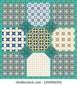 blue patchwork with ornament