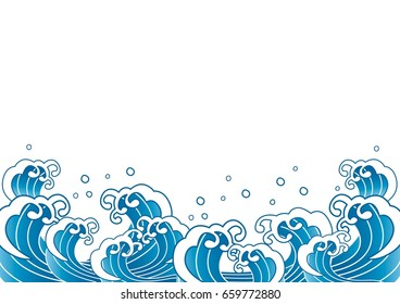 Blue pattern of wave and water