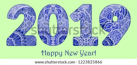 Blue Patterned Figures 2019 Year Happy New Year Congratulations Mehndi Style Of Painting