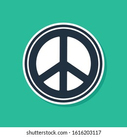 Blue Peace icon isolated on green background. Hippie symbol of peace.  Vector Illustration