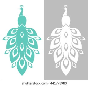 Blue peacock and white peacock. Abstract birds on white and gray background