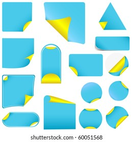 Blue pealing paper with yellow corners, isolated on white vector