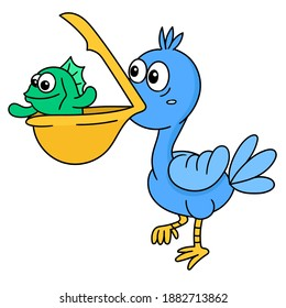 blue pelicans carry fish in their beaks, doodle icon image. cartoon caharacter cute doodle draw