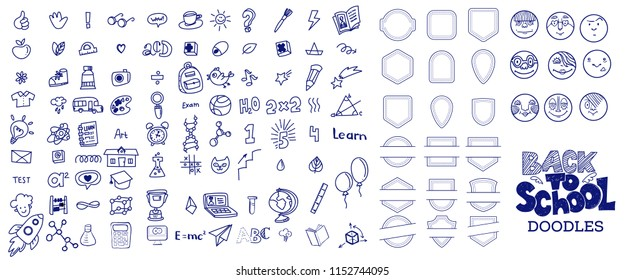 Blue Pen ink drawn back to school doodles symbols big set and lettering headline. Vector linear illustration. For banners, posters, flyers. A lot of education and study icons, children faces, borders