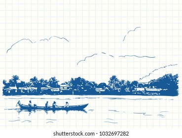 Blue pen sketch on square grid notebook page, Boat in Kampot riverside Cambodia, Hand drawn vector linear illustration