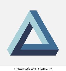 Blue Penrose triangle on light background. Impossible figure