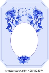 blue peonies in chinoiserie style with sky blue  background