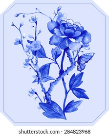 blue peony in chinoiserie style with sky blue  background