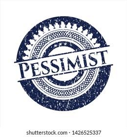 Blue Pessimist rubber grunge stamp