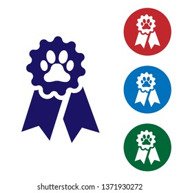 Blue Pet award symbol icon isolated on white background. Badge with dog or cat paw print and ribbons. Medal for animal. Set color icon in circle buttons. Vector Illustration