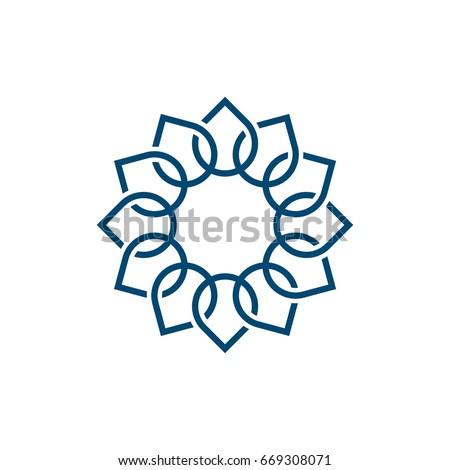 Blue Petal Sun Flower Logo Template Stock Vector (Royalty Free ...