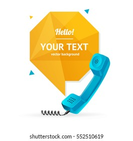 Blue Phone Receiver with Abstract Geometric Bubble Speech. Vector illustration