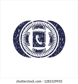 Blue phonebook icon inside distress rubber grunge texture seal
