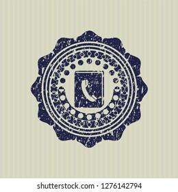 Blue phonebook icon inside grunge stamp