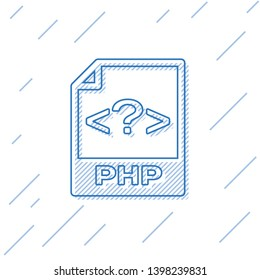 Blue PHP file document icon. Download php button line icon isolated on white background. PHP file symbol. Vector Illustration