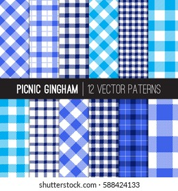 Blue Picnic Tablecloth Gingham and Tartan Patterns. Shades of Blue, Navy and White Plaid Fabric Backgrounds. Vector Pattern Tile Swatches Included.