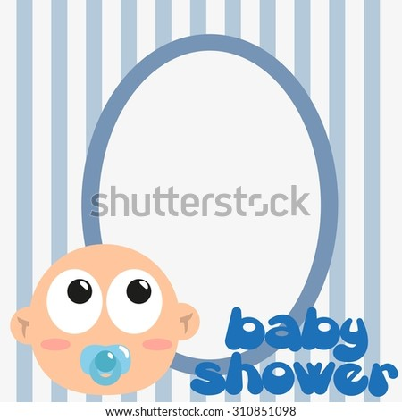 Blue Picture Frames Baby Shower Stock Vector Royalty Free