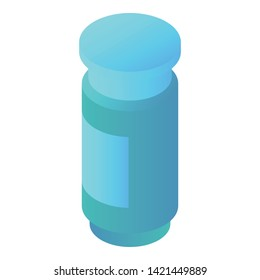 Blue pill glass icon. Isometric of blue pill glass vector icon for web design isolated on white background