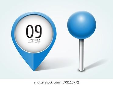 Blue pin / Map pointer / Location  icon. Concept of route, landmark, adventure, explore. Vector illustration.
