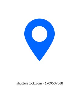 blue pin point icon isolated on white background. vector illustration
