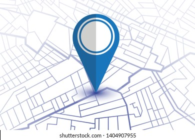 Blue pin showing location on gps navigator map. Vector illustration